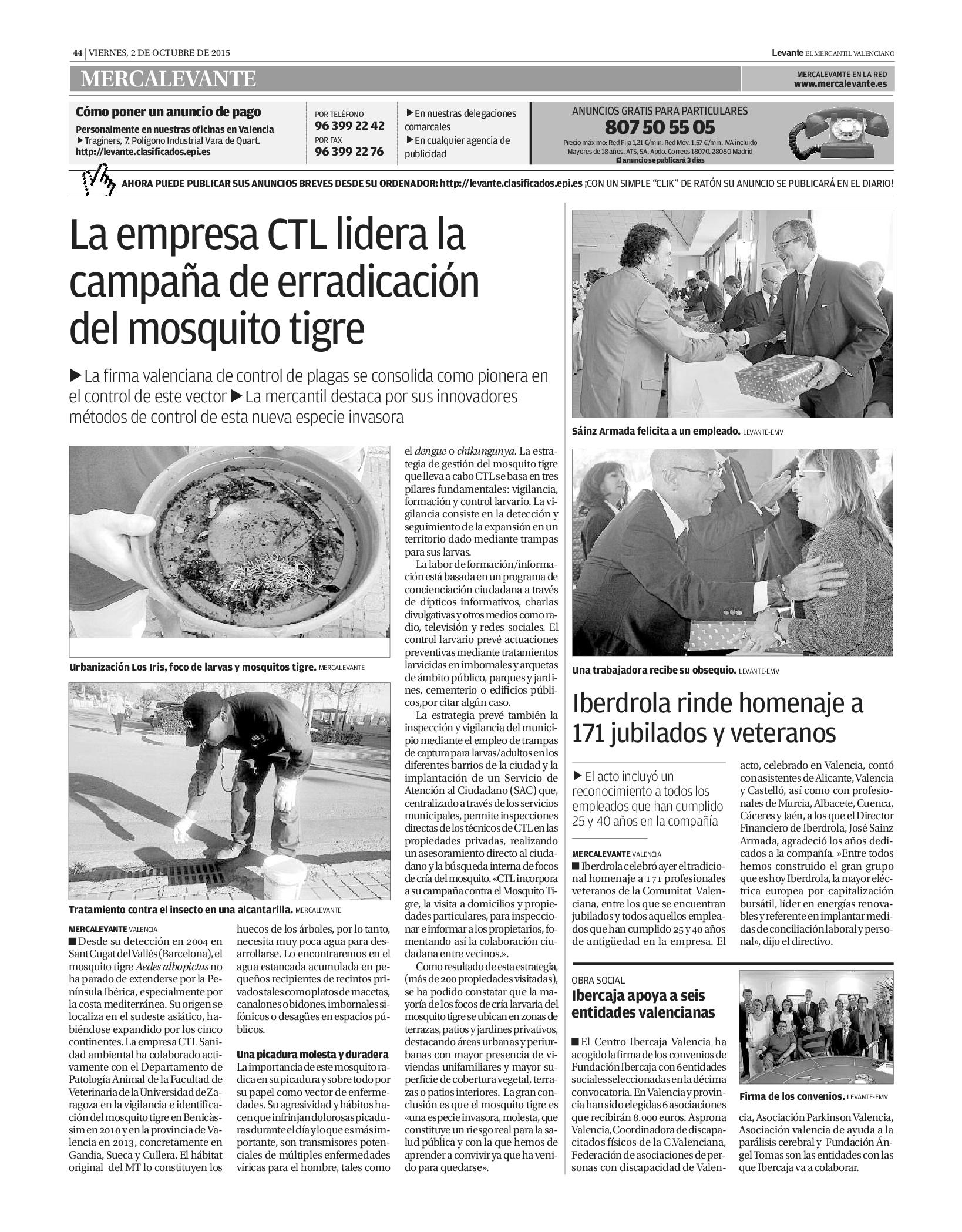 El Levante EMV nos mencionen como empresa que lidera la gestión y erradicación del Aedes Albopictus, el famoso #Mosquito Tigre.