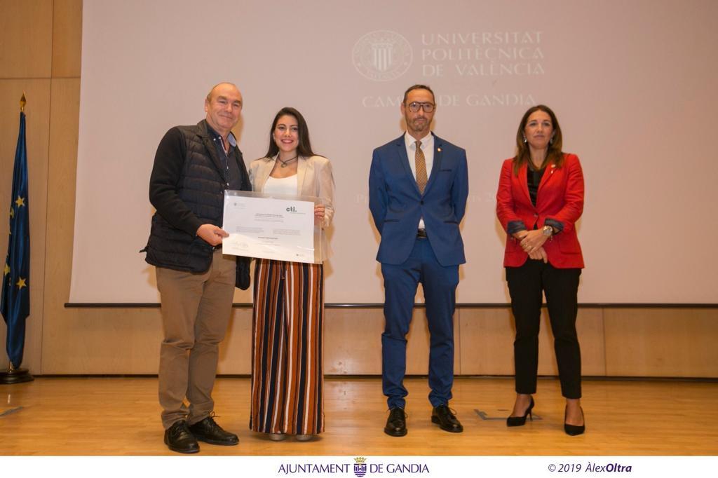El áccessit en la titulación de Grado de Ciencias Ambientales en el Campus de Gandia de la Universitat Politècnica de València ha sido patrocinado por nuestra empresa CTL Compañía de Tratamientos Levante, S.L